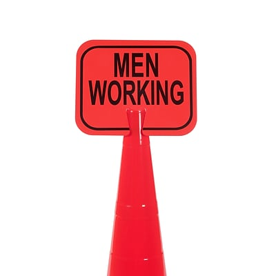 Mutual Industries MEN WORKING Traffic Cone Sign, 11 x 13