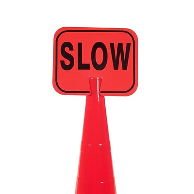 Mutual Industries SLOW Traffic Cone Sign, 11 x 13