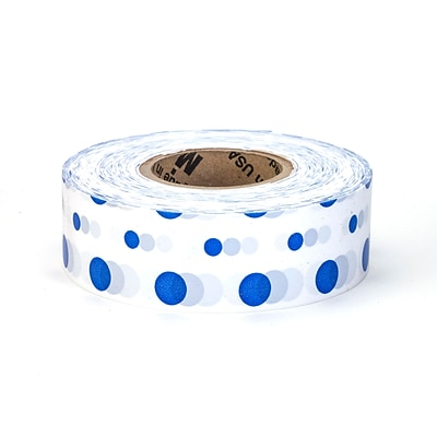 Mutual Industries Ultra Standard Flagging Tape, 1 3/16 x 100 yds., Blue/White Dot, 12/Box