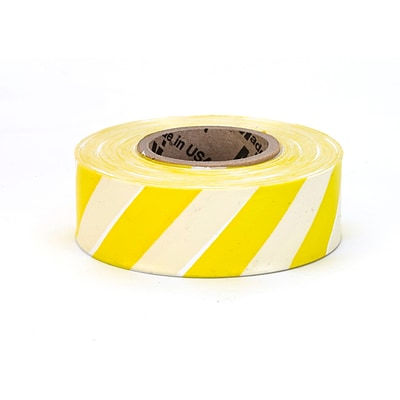 Mutual Industries Ultra Standard Flagging Tape, 1 3/16 x 100 yds., Yellow/Black Stripe, 12/Box