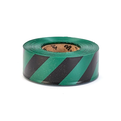 Mutual Industries Ultra Standard Flagging Tape, 1 3/16 x 100 yds., Green/Black Stripe, 12/Box