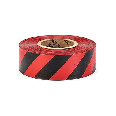 Mutual Industries Ultra Standard Flagging Tape, 1 3/16 x 100 yds., Red/Black Stripe, 12/Box