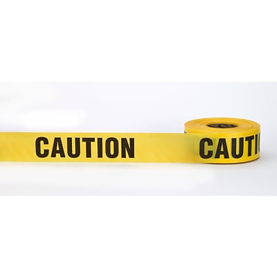Mutual Industries CAUTION Barricade Tape, 3 x 1000, Yellow, 10/Box