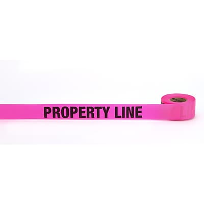 Mutual Industries Property Line Printed Flagging Tape, 1 1/2 x 50 yds., Glo Pink, 10/Box
