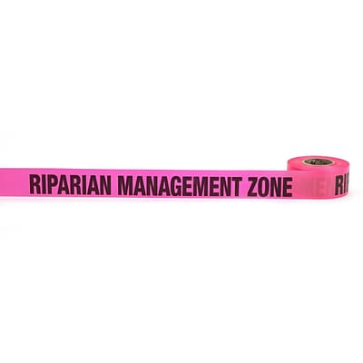 Mutual Industries Riparian Management Zone Printed Flagging Tape,1 1/2 x 50 yds., Glo Pink,10/Box