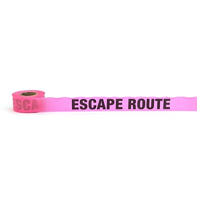 Mutual Industries Escape Route Printed Flagging Tape, 1 1/2 x 50 yds., Glo Pink, 10/Box