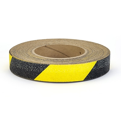 Mutual Industries Non-Skid Hazard Stripe Abrasive Tape, 1 x 60, Yellow/Black