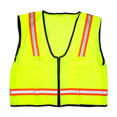 Mutual Industries MiViz High Visibility Mesh Back Surveyor Vest With Pocket, Lime, 4XL