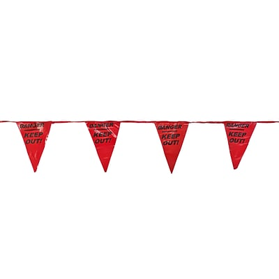 Mutual Industries Pennant Flag With Legend, 60, Red, 10/Box