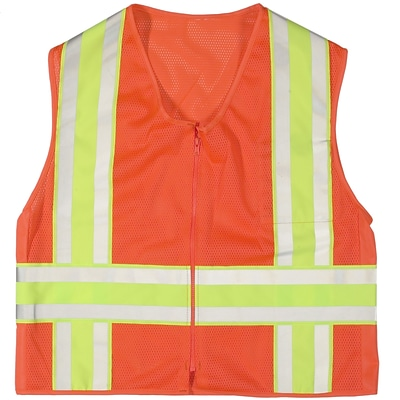 Mutual Industries MiViz ANSI Class 2 High Visibility Deluxe Dot Mesh Safety Vest, Orange, XL