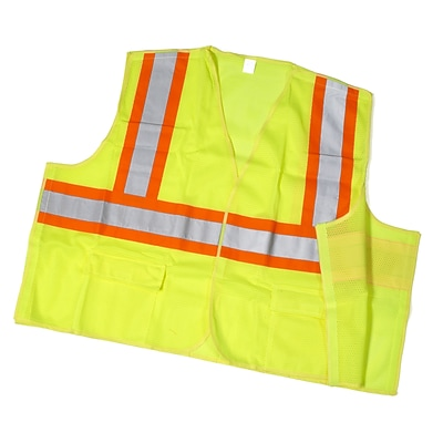 Mutual Industries MiViz ANSI Class 2 Solid Tearaway Safety Vest With Pockets; Lime, Medium