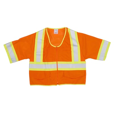 Mutual Industries MiViz ANSI Class 3 High Visibility Mesh Safety Vest With Pockets; Orange, 2XL