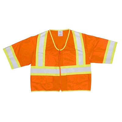 Mutual Industries MiViz ANSI Class 3 High Visibility Solid Safety Vest With Pockets; Orange, Medium