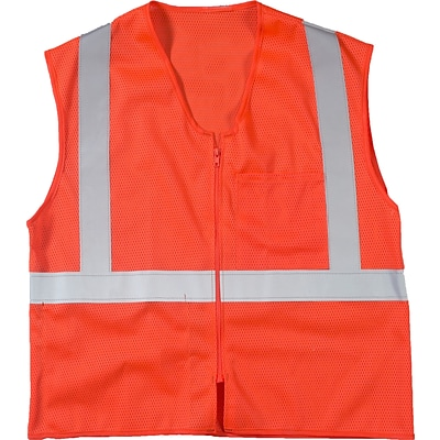 Mutual Industries MiViz ANSI Class 2 High Visibility High Value Mesh Safety Vest; Orange, 4XL/5XL