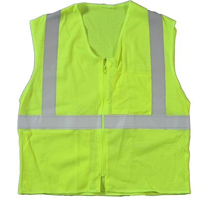 Mutual Industries MiViz ANSI Class 2 High Visibility High Value Mesh Safety Vest; Lime, Large/XL