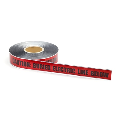 Mutual Industries Electric Line Underground Detectable Tape, 3 x 1000, Red