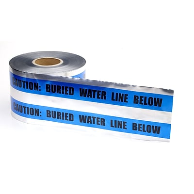 Mutual Industries Buried Water Line Underground Detectable Tape, 6 x 1000, Blue
