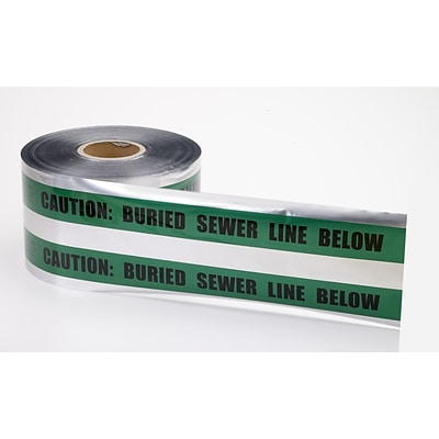 Mutual Industries Sewer Line Underground Detectable Tape, 6 x 1000, Green