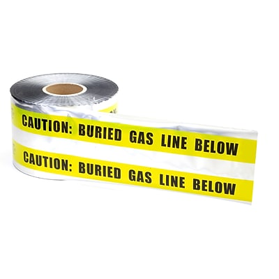 Mutual Industries Gas Line Underground Detectable Tape, 6 x 1000, Yellow
