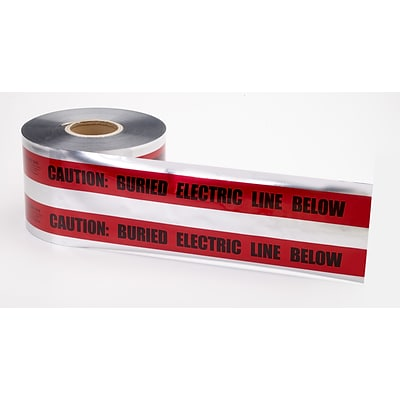 Mutual Industries Electric Line Underground Detectable Tape, 6 x 1000, Red