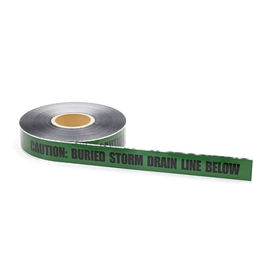 Mutual Industries Storm Drain Underground Detectable Tape, 2 x 1000, Green