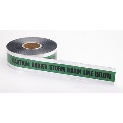 Mutual Industries Storm Drain Underground Detectable Tape, 3 x 1000, Green