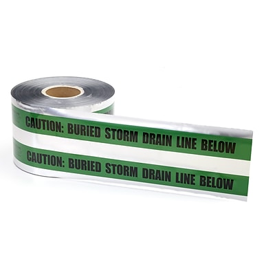 Mutual Industries Storm Drain Underground Detectable Tape, 6 x 1000, Green
