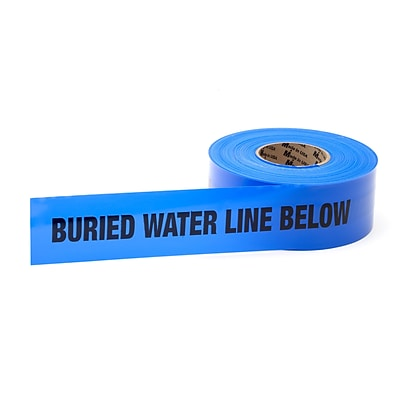 Mutual Industries Water Line Underground Marking Tape, 3 x 1000, Blue