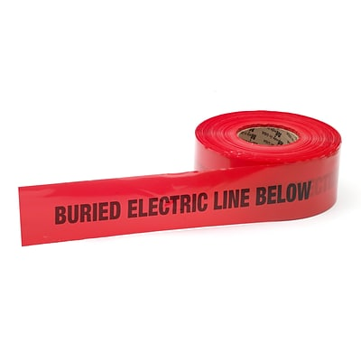 Mutual Industries Electric Line Underground Marking Tape, 3 x 1000, Red