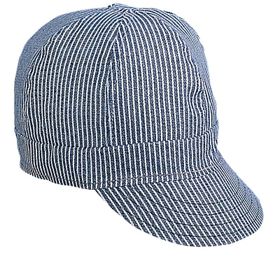 Mutual Industries Kromer C75 Hickory Stripe Style Hard Bill Cap, Black/Gray, One Size