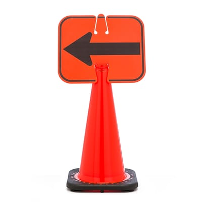 Mutual Industries LEFT ARROW Traffic Cone Sign, 11 x 13
