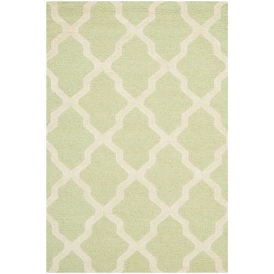 Safavieh Zoey Cambridge Wool Pile Area Rug, Light Green/Ivory, 3 x 5