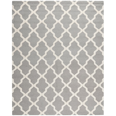 Safavieh Zoey Cambridge Wool Pile Area Rug, Silver/Ivory, 8 x 10