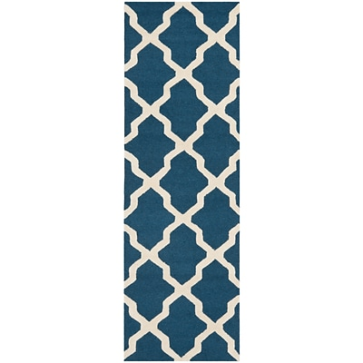 Safavieh Zoey Cambridge Wool Pile Area Rug, Navy Blue/Ivory, 2 6 x 12