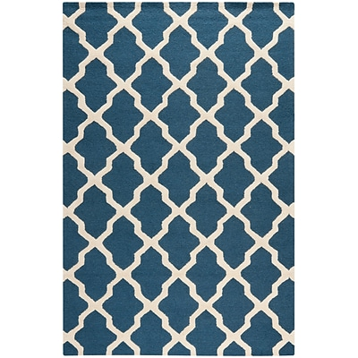 Safavieh Zoey Cambridge Wool Pile Area Rug, Navy Blue/Ivory, 6 x 9