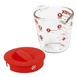Pyrex Prepware 2 Cup Measuring Cup w/ Red Plastic Cover in Clear