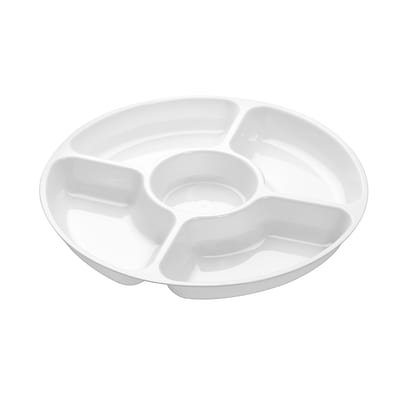 Fineline Settings Platter Pleasers 3506 Five Compartment Tray, White