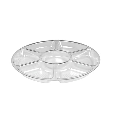 Fineline Settings Platter Pleasers 3510 Seven Compartment Tray, Clear