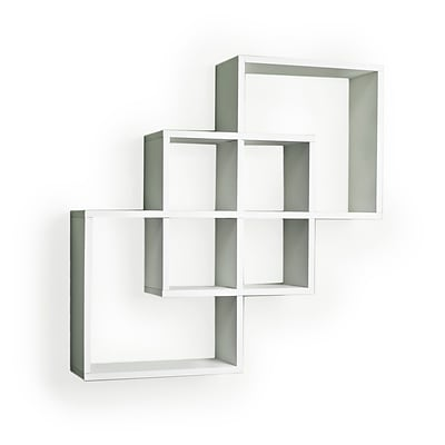 Danya B FF6013W Intersecting Squares Decorative Wall Shelf, White