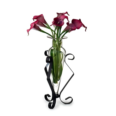 Danya B MC752-C Amphora Glass Vase on Metal Stand; Clear