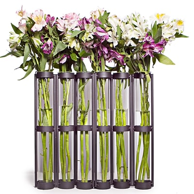Danya B QB380 Tall Six Tube Hinged Vase; Brown