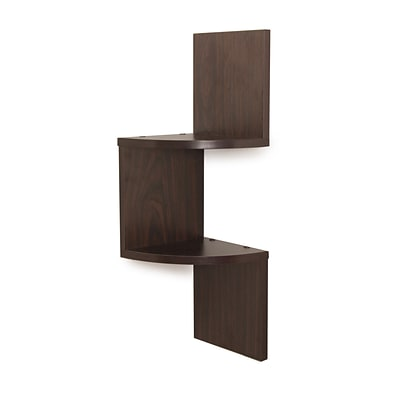 Danya B QBA671SR1 Laminated Corner Shelf in Walnut Finish