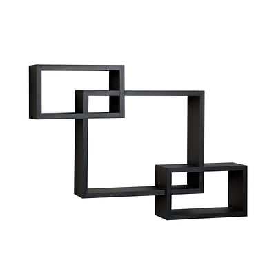 Danya B YU008BK Intersecting Laminate Wall Shelf, Black