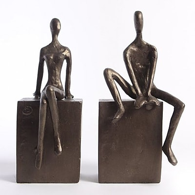 Danya B ZI8051 Man and Woman Sitting on a Block Bookend Set of 2, Brown/Gold
