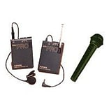 Azden® 3.3H x 2.4W x 0.85D PRO VHF Lavalier and Wired Hand-Held Wireless Microphone System