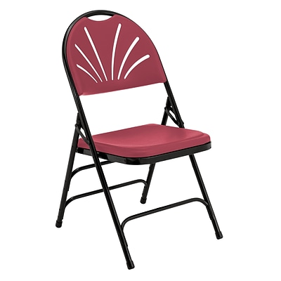 NPS #1118 Polyfold Fan Back Triple Brace Double Hinge Folding Chairs, Burgundy/Black - 52 Pack