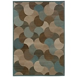 StyleHaven Geometric Beige/ Blue Indoor Machine-made Polypropylene Area Rug (53 X 76)