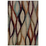 Abstract Grey/ Multi Indoor Machine-made Polypropylene Area Rug (53 X 76)