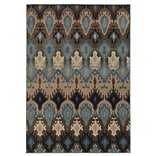 Tribal Blue/ Stone Indoor Machine-made Polypropylene Area Rug (53 X 76)