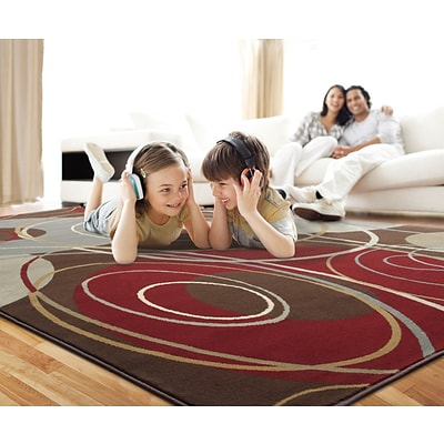 Abstract Brown/ Red Indoor Machine-made Polypropylene Area Rug (5 X 76)